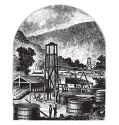 Oil well and tank vintage vector