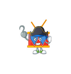 One hand pirate independence day drum wearing hat vector