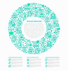 online medicine telemedicine concept in circle vector image