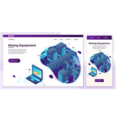 online web crypto mining equipment set vector image