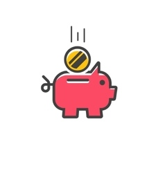 Piggy bank icon isolated vector