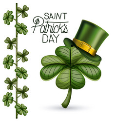 poster saint patricks day with clover of four vector image