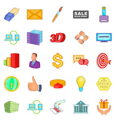 Product promotion icons set cartoon style vector
