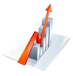 Red growth arrow vector