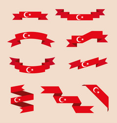 ribbons or banners in colors turkish flag vector image