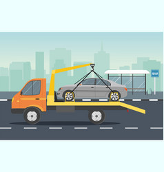 Road assistance car evacuator drive on road vector