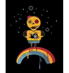 Robot on rainbow vector image