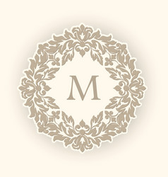 Round floral and geometric monogram vector