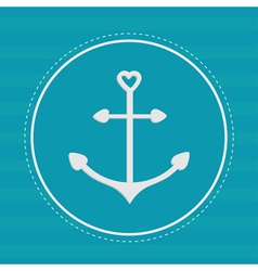 Round label with anchor in shapes of heart Dash vector image