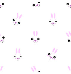 seamless pattern of cartoon bunny on white vector image