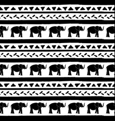 seamless pattern with elephants hand drawn vector image