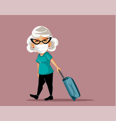 senior woman wearing a mask travelling with vector image
