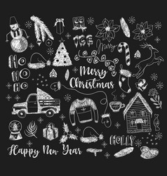 set christmas elements painted chalk vector image