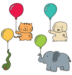 Set of animal with balloon vector