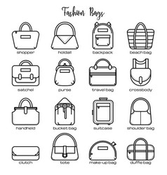 set of black and white fashion bag line icons vector image