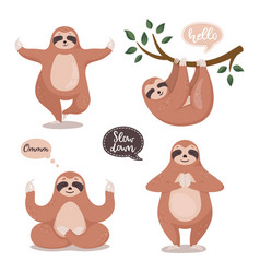 set of cute sloths hanging on the tree and do vector image