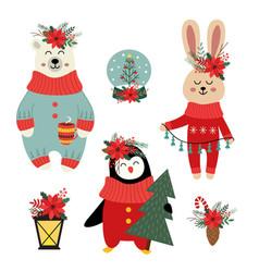 Set of isolated christmas polar bear hare vector