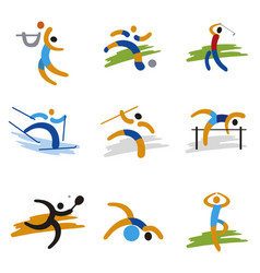 set of sport expressive icons vector image