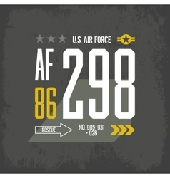Shabby t-shirt US aircraft emblem vector