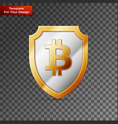 shield with bitcoin sign on transparent background vector image