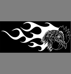 Silhouette angry rooster with flames vector
