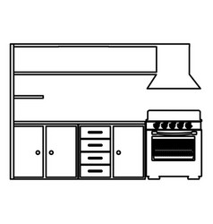 Silhouette of modern kitchen cabinets with stove vector