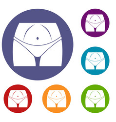 slim woman body in panties icons set vector image