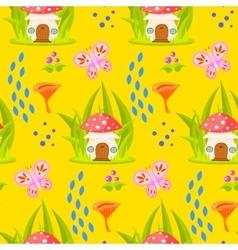 Spring forest mushroom house seamless pattern vector