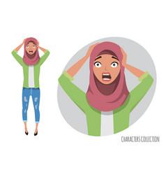 Surprised shocked eastern woman muslim young vector