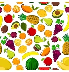 Sweet and fresh fruits seamless pattern background vector image