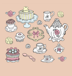 Tea party set cute design elements vector