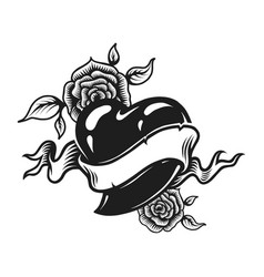 vintage monochrome romantic tattoo concept vector image