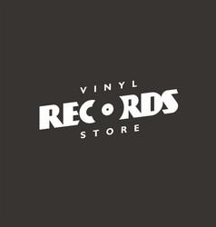 Vinyl records store typography logo vector
