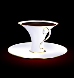 white and golden cup vector image