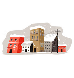 winter cityscape city with buildings covered vector image