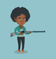 young african hunter holding a hunting rifle vector image