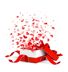 Gift box with hearts vector image