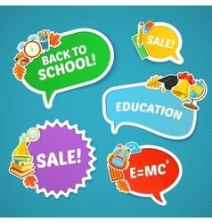 School bright stickers set vector image