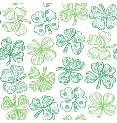 Seamless pattern with shamrock on white background vector