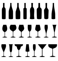 set of bottles and glasses icons vector image vector image