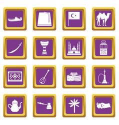 turkey travel icons set purple vector image vector image