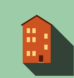 building house icon with long shadow flat design vector image vector image