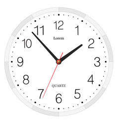 Classic with numbers clock placed on white vector image vector image