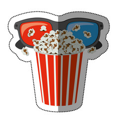 colorful sticker with popcorn cup and glasses 3d vector image