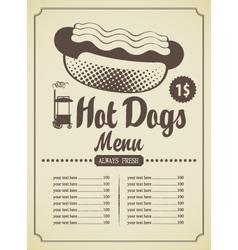 hot dog menu vector image vector image