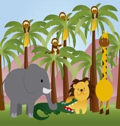 jungle animals cartoon vector image