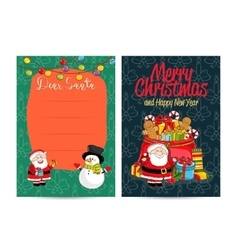 Letter to Santa Claus with Columns For Wish List vector image vector image