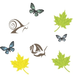 Set of fun insects vector
