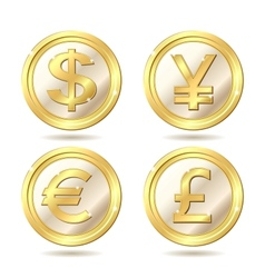 set of golden coin vector image vector image