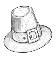sketch style pilgrim hat vector image